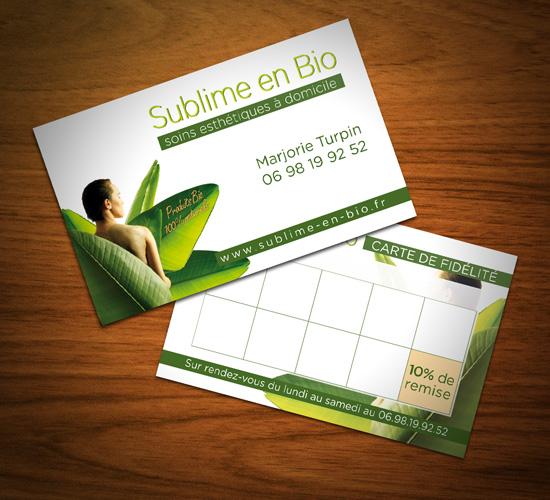 Sublime En Bio – réalisations de flyers & cartes de fidélité