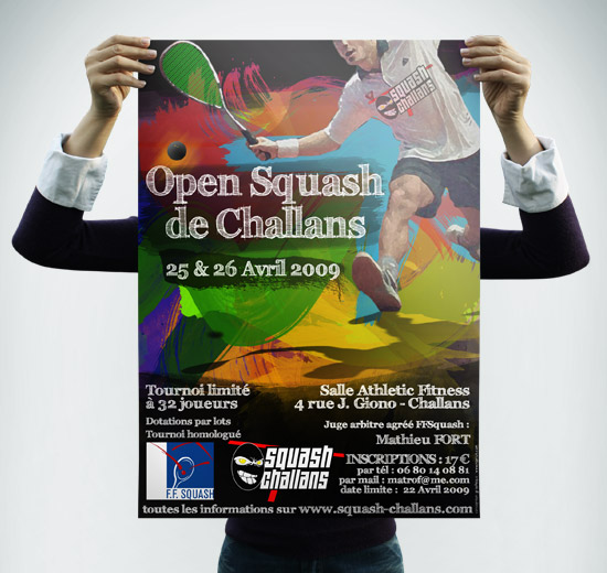 Squash Challans – réalisation affiche du 1er Open de Challans